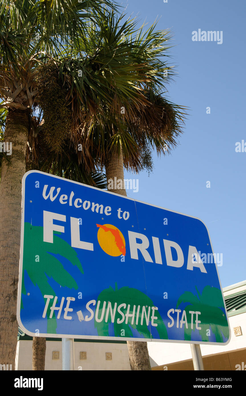 state of florida welcome sign on the state line america usa stock
