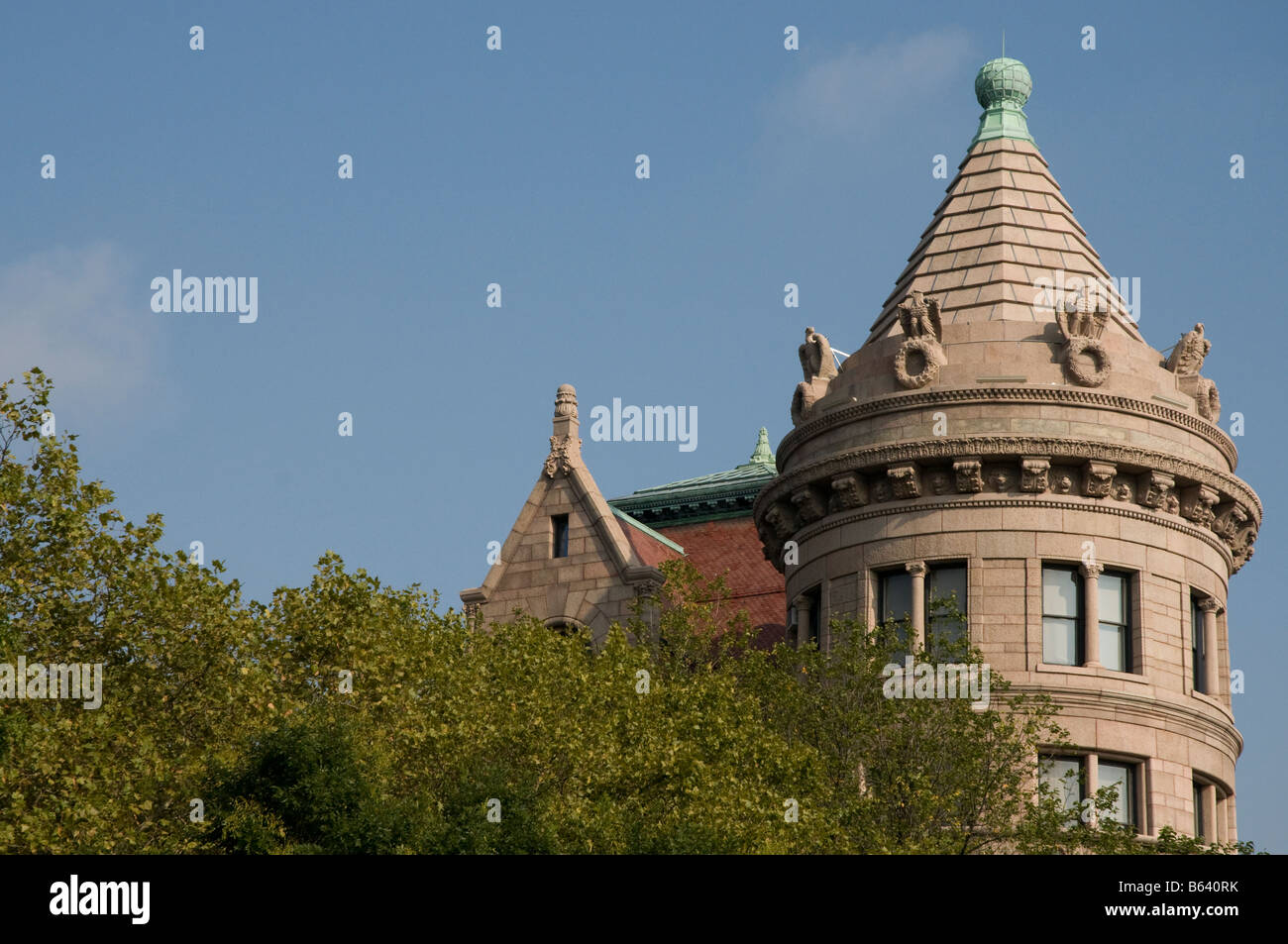 Turret of the American Museum of Natural History on the Upper West Side of Manhattan, New York, USA - Stock Image