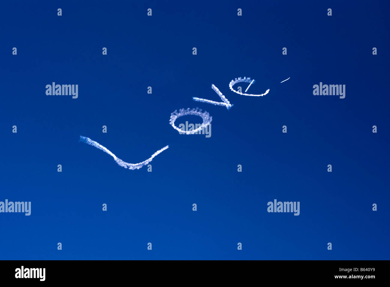 Australia, New South Wales, Sydney. 'Love' sign in air, made by airplane. - Stock Image