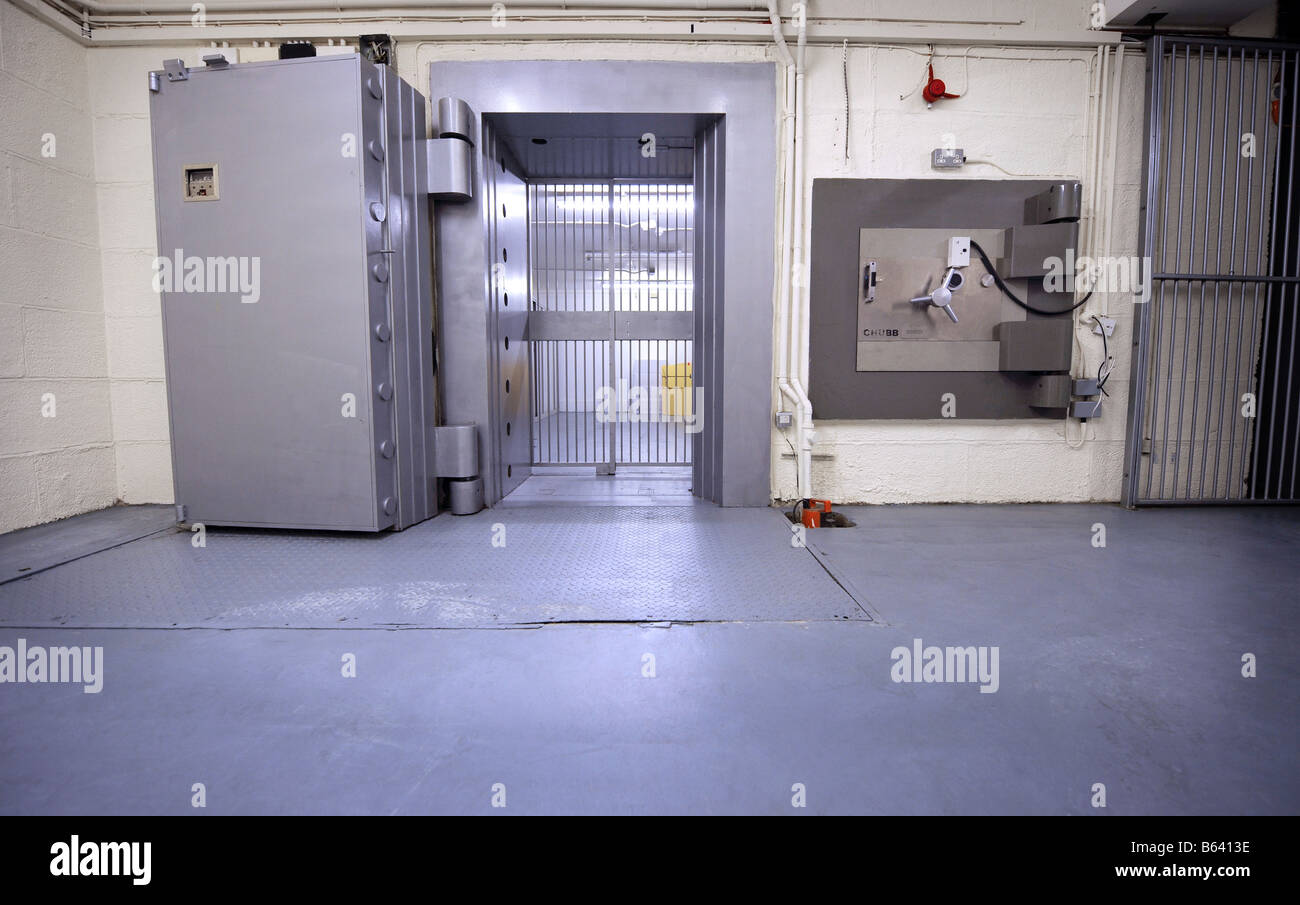 An open bank vault door in London. - Stock Image
