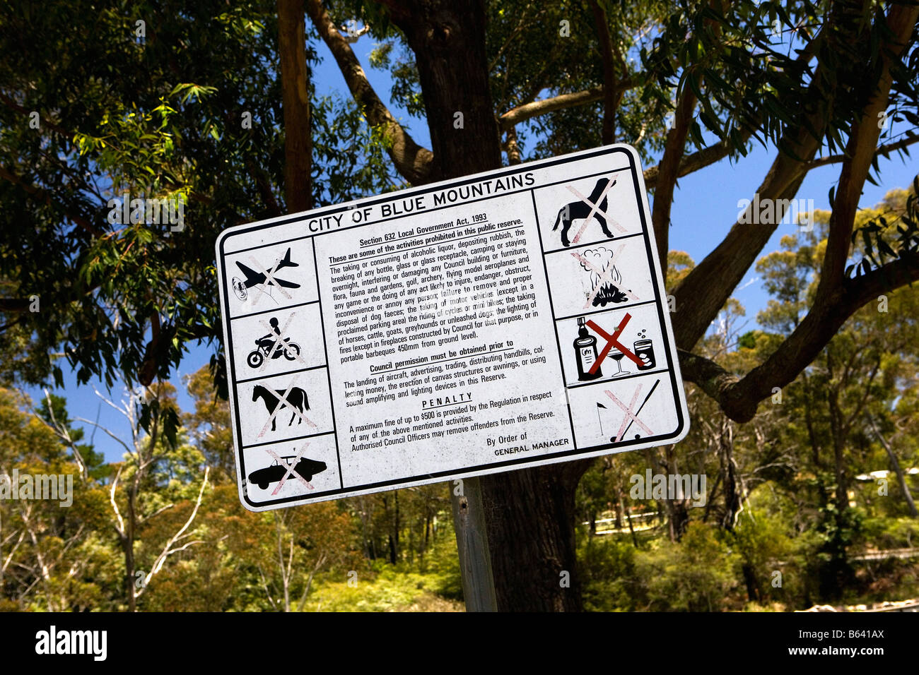 Australia. New South Wales, Katoomba, Blue Mountains National Park. Sign: What's not allowed. - Stock Image