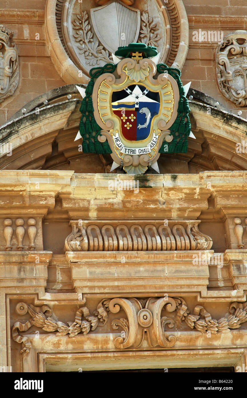 St Pauls Cathedral  Medina Malta= Episcopal  Coat of Arms - Stock Image
