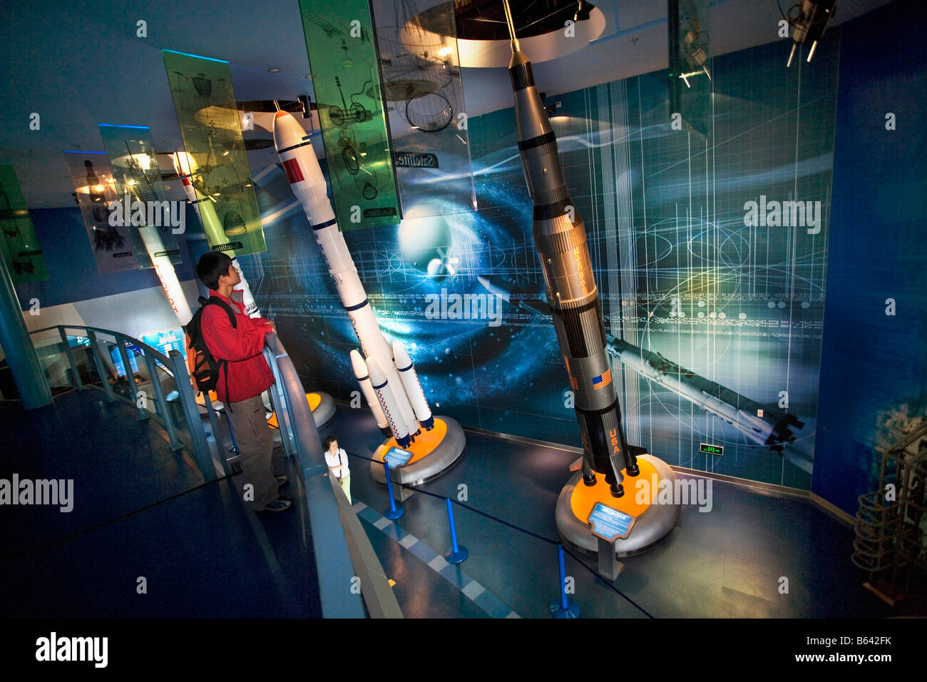 China, Shanghai, Shanghai Science and Technology Museum. Rockets of USA, Russia and China. - Stock Image
