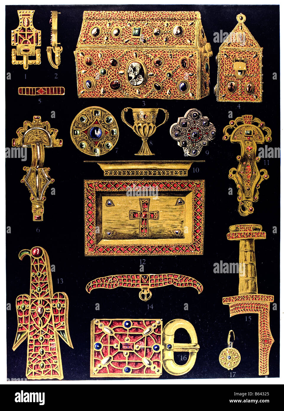 Germanic Ornament in late classical period, Merovingian golden arts and crafts. - Stock Image