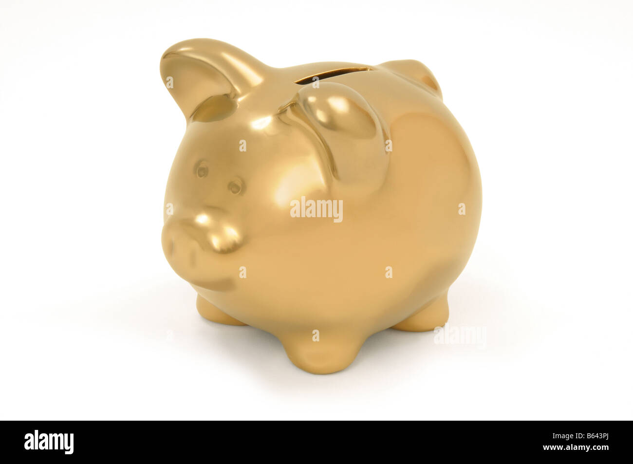 Golden piggy bank - Stock Image