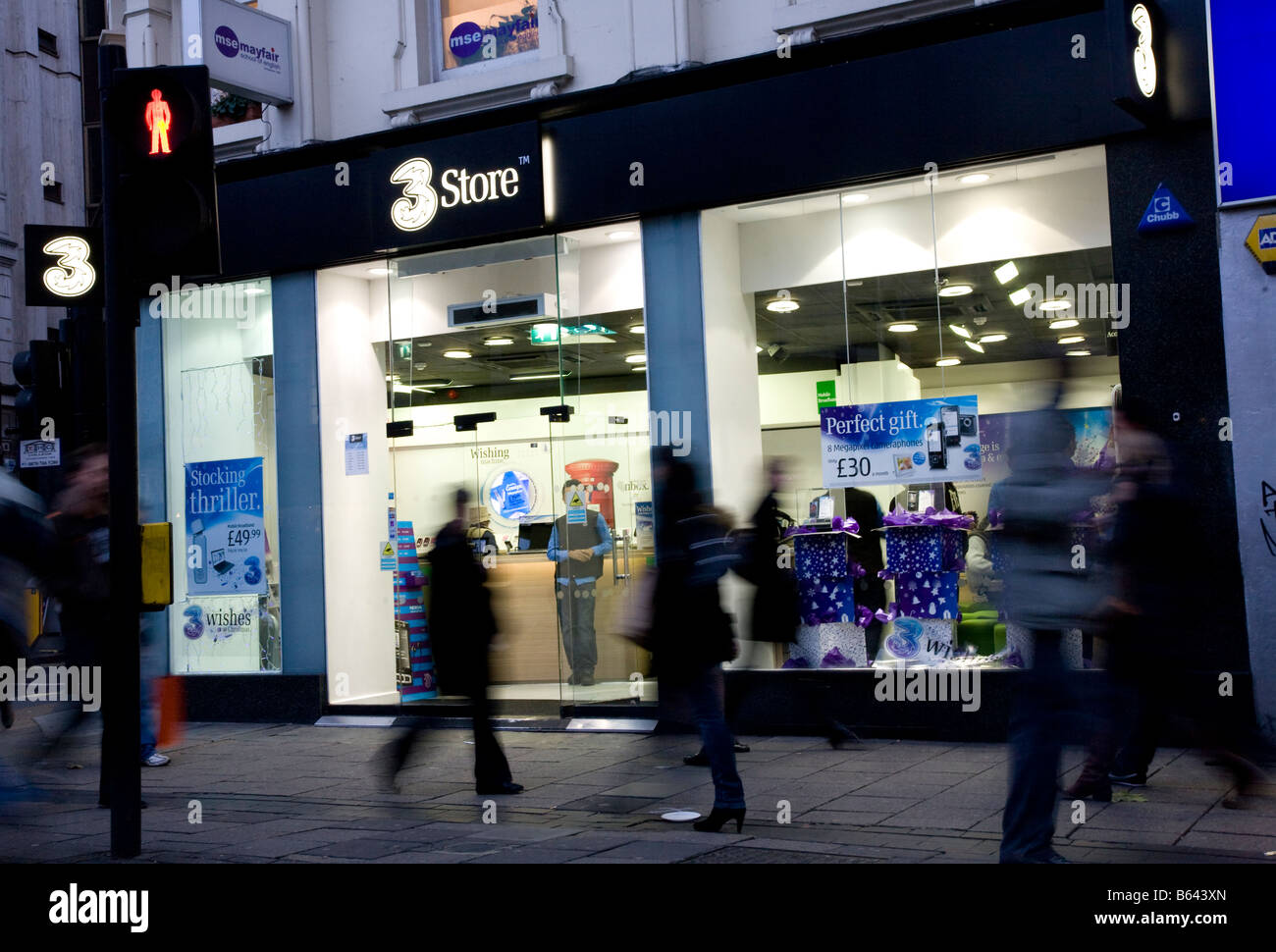 the branch of 3 mobile phone network on oxford street london Stock Photo