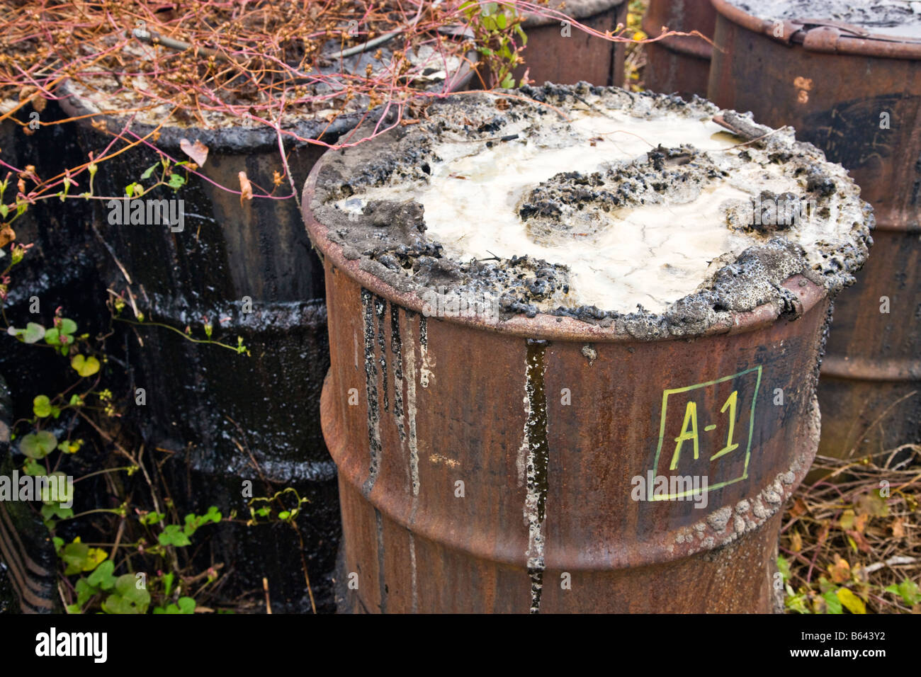 Abandoned corroding rusting oxidizing 55 gallon metal drums. - Stock Image