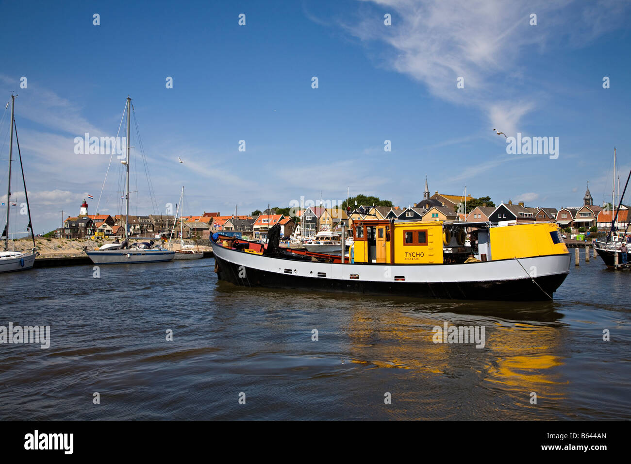 Fishing boats in harbour Urk Netherlands - Stock Image