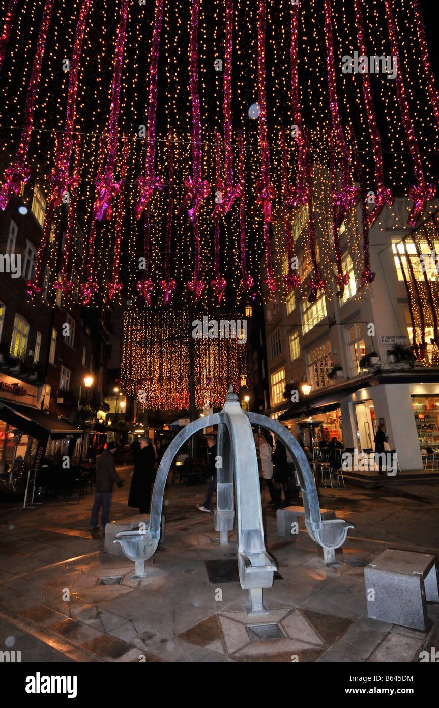 Christmas lights in St Christophers Place a shopping and eating out area off 'Oxford Street' in Londons - Stock Image