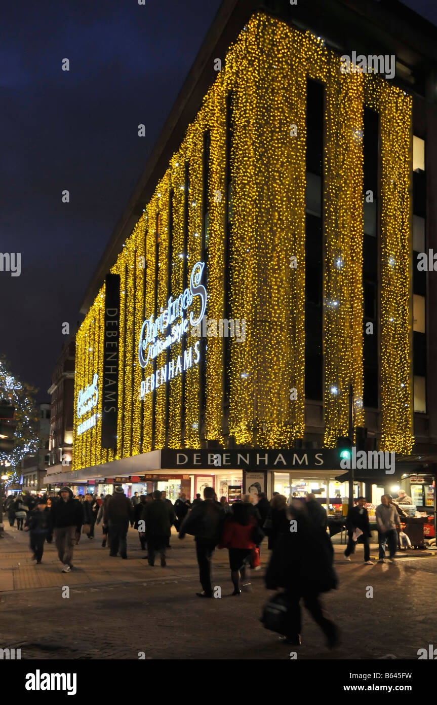 Debenhams department store Oxford street with Christmas lights Stock ...