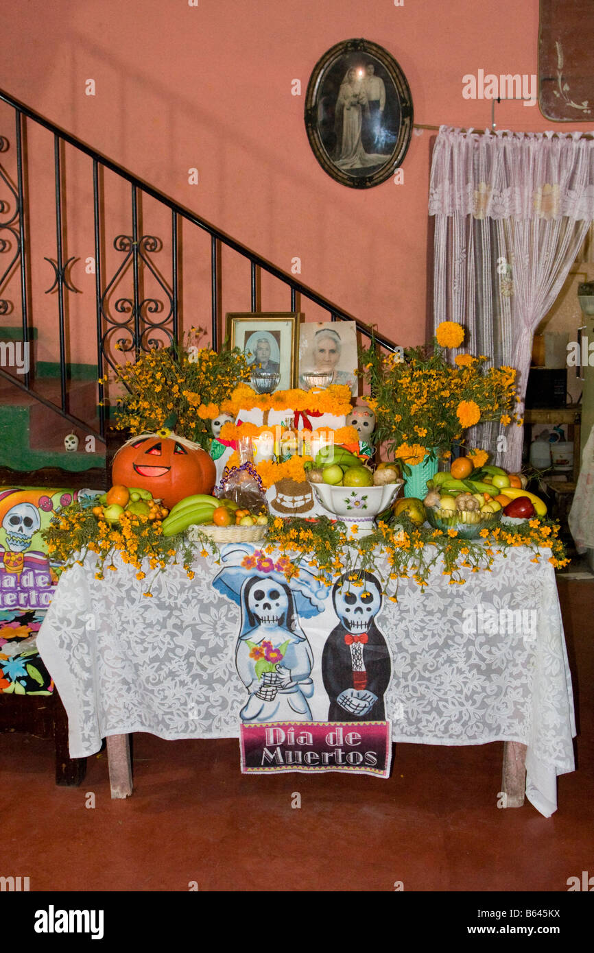 Oaxaca Mexico Day Of The Dead Family Altar And Offerings In