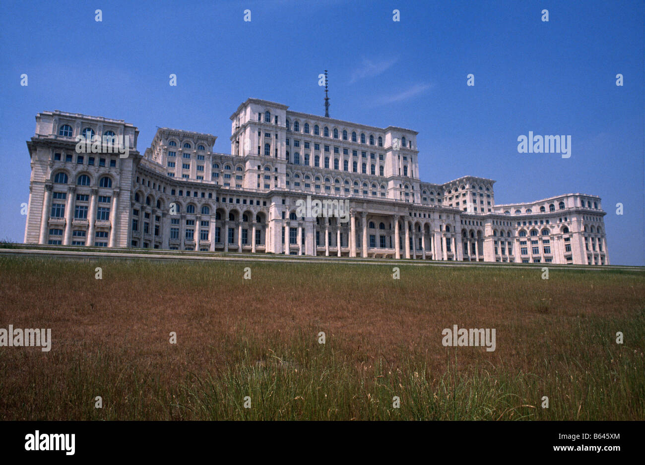 The House/ Palace of The People, otherwise known as Ceaucescu's Palace, at the end of Boulevard Unirii, Bucharest, - Stock Image
