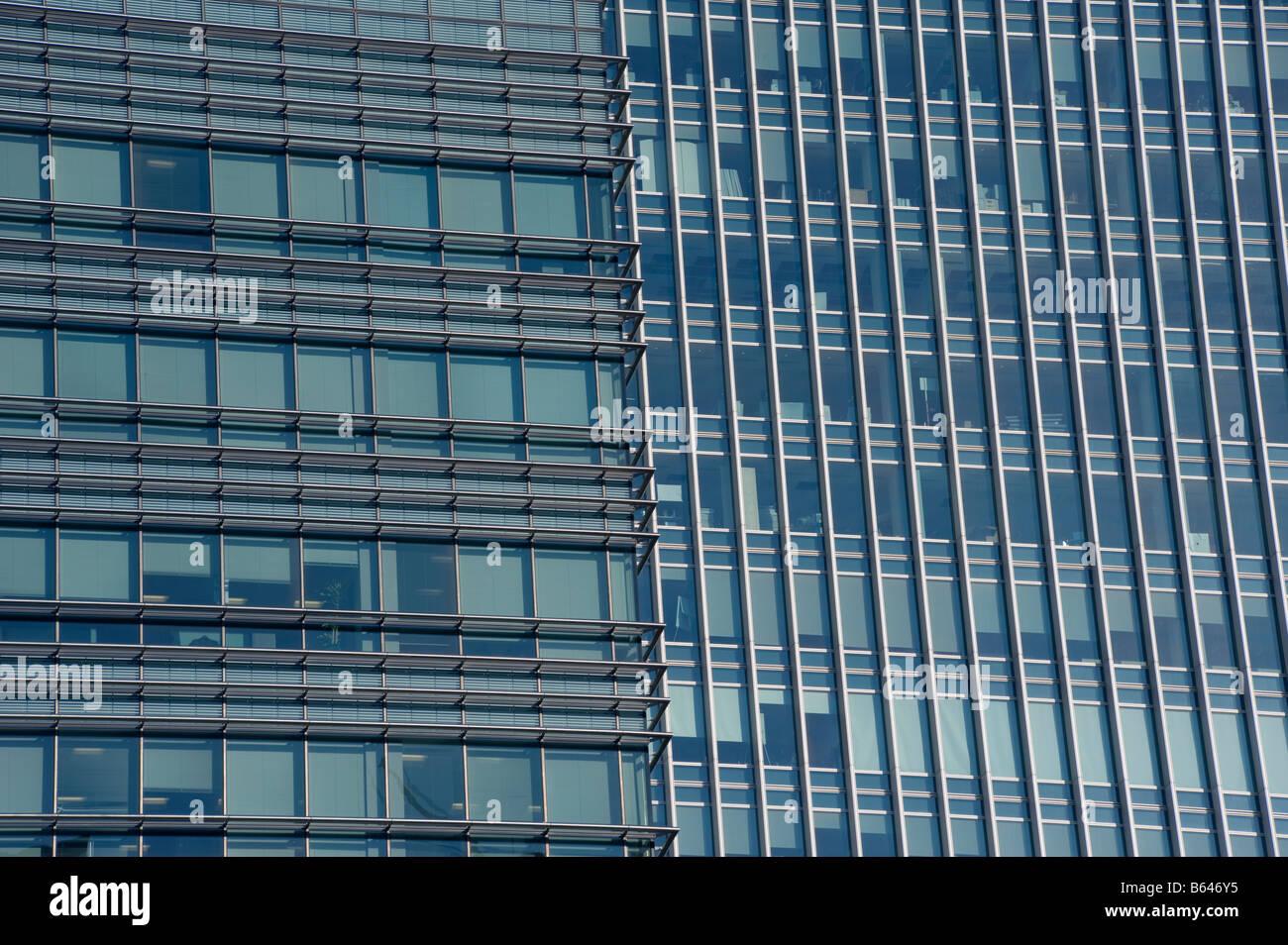 Modern skyscrapers Canary Wharf London England UK - Stock Image