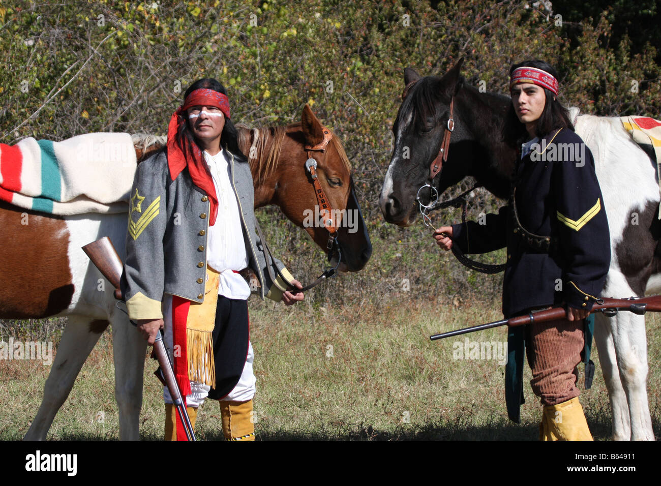 Two Apache Native American Indians With Their Horses Stock Photo Alamy