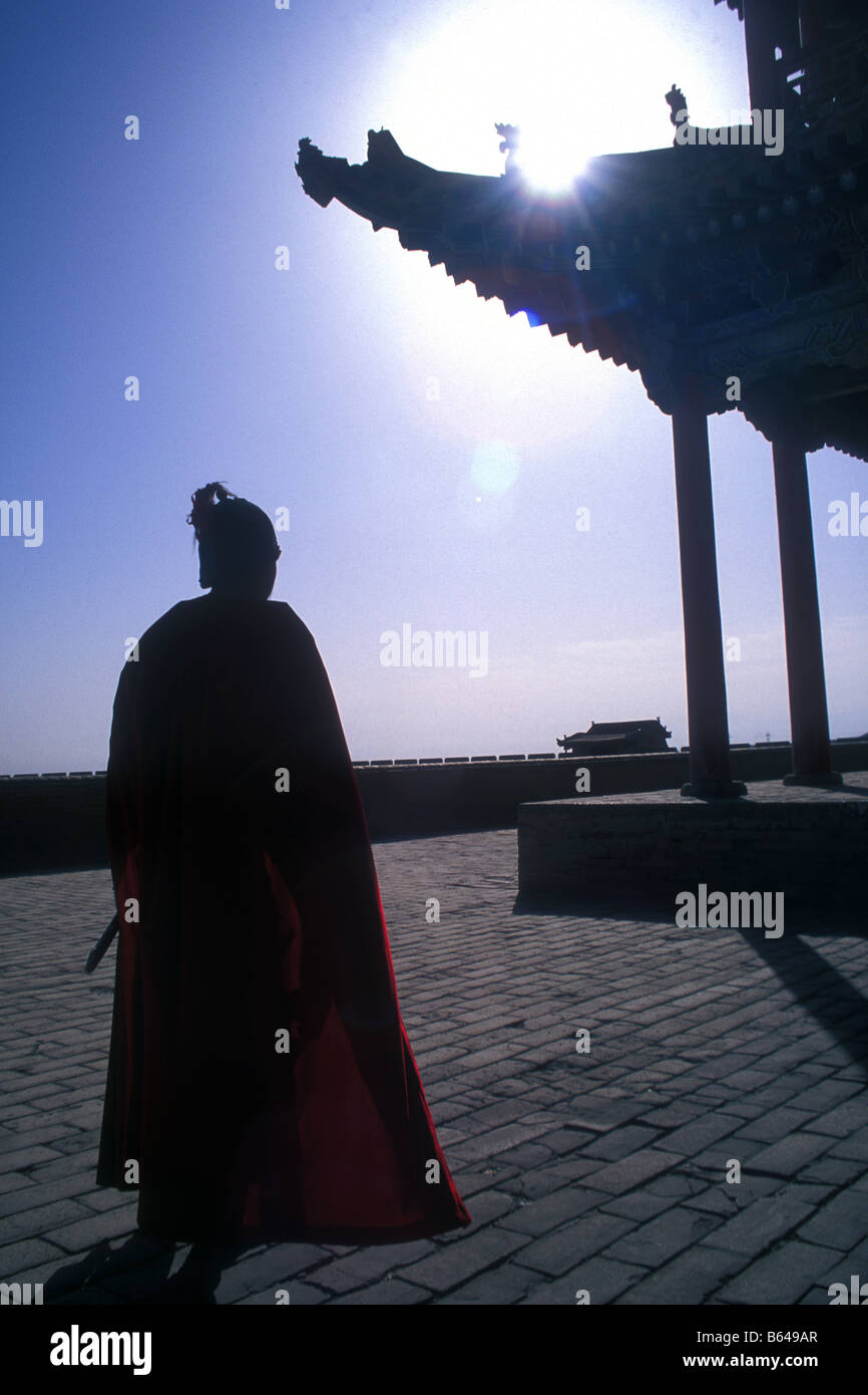 'Soldier' at Jiayuguan Fort, at the western end of the Great Wall of China, Gansu, China Stock Photo