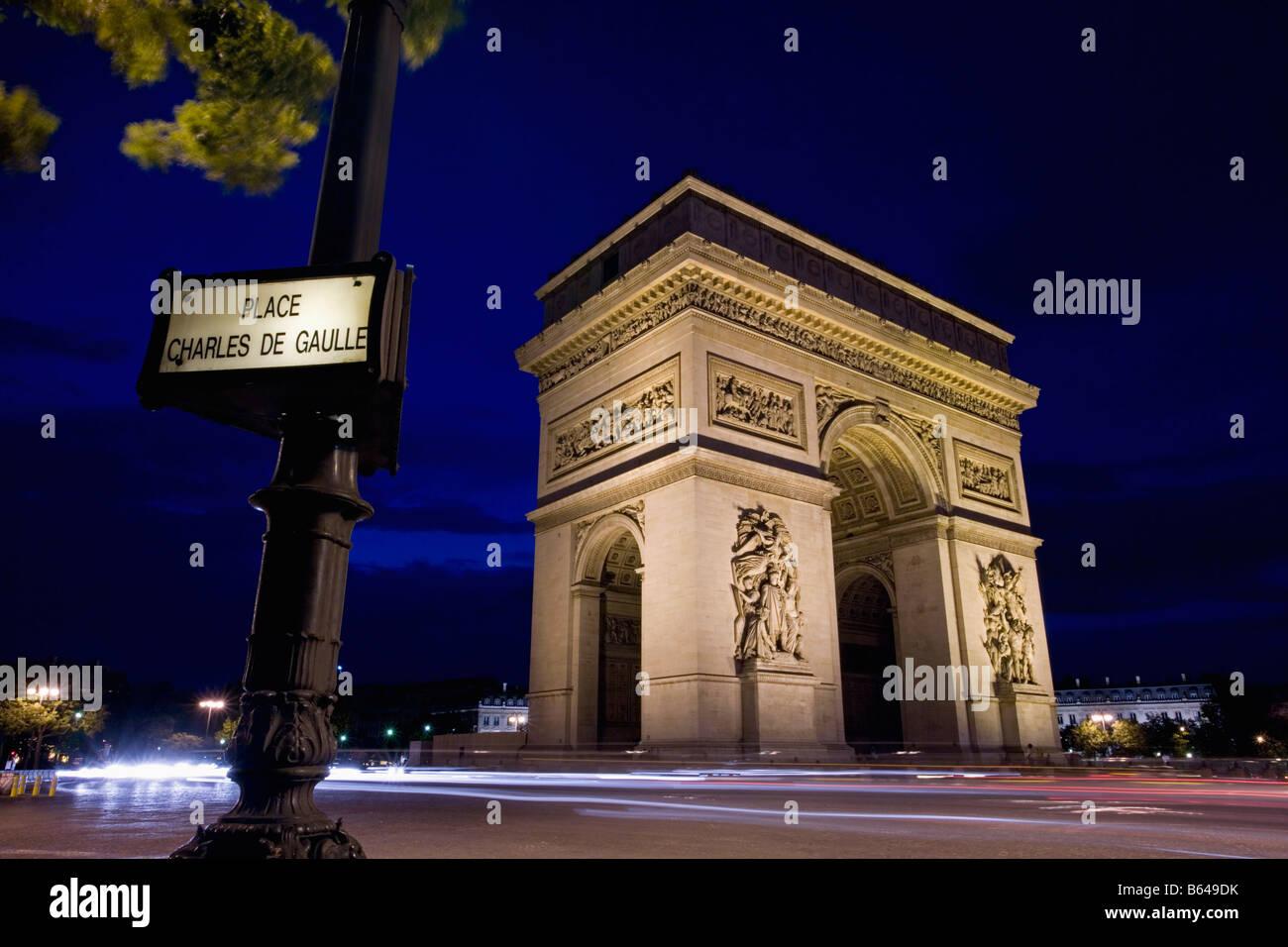 France, Paris, Arc de triomphe. Dusk - Stock Image