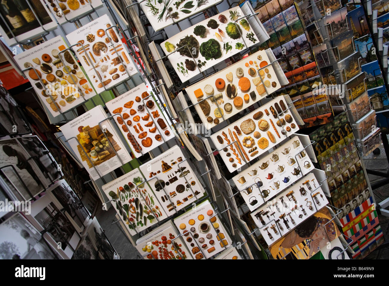 France, Paris, Postcards showing French food - Stock Image
