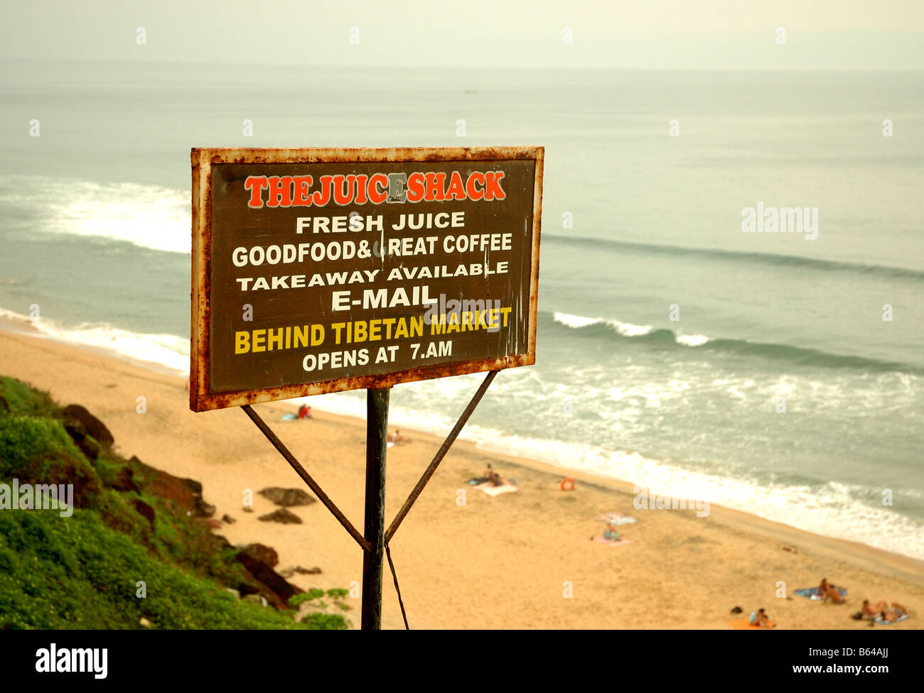 The Juice Shack Wooden Sign And Beach Cliff Face At Varkala Kerala
