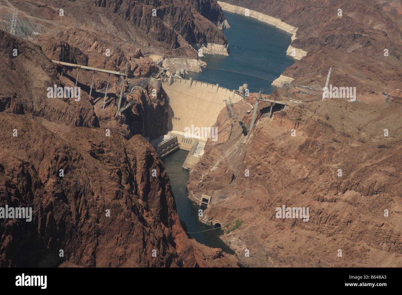 Aerial view of the Hoover Dam on the Arizona Nevada border Stock Photo