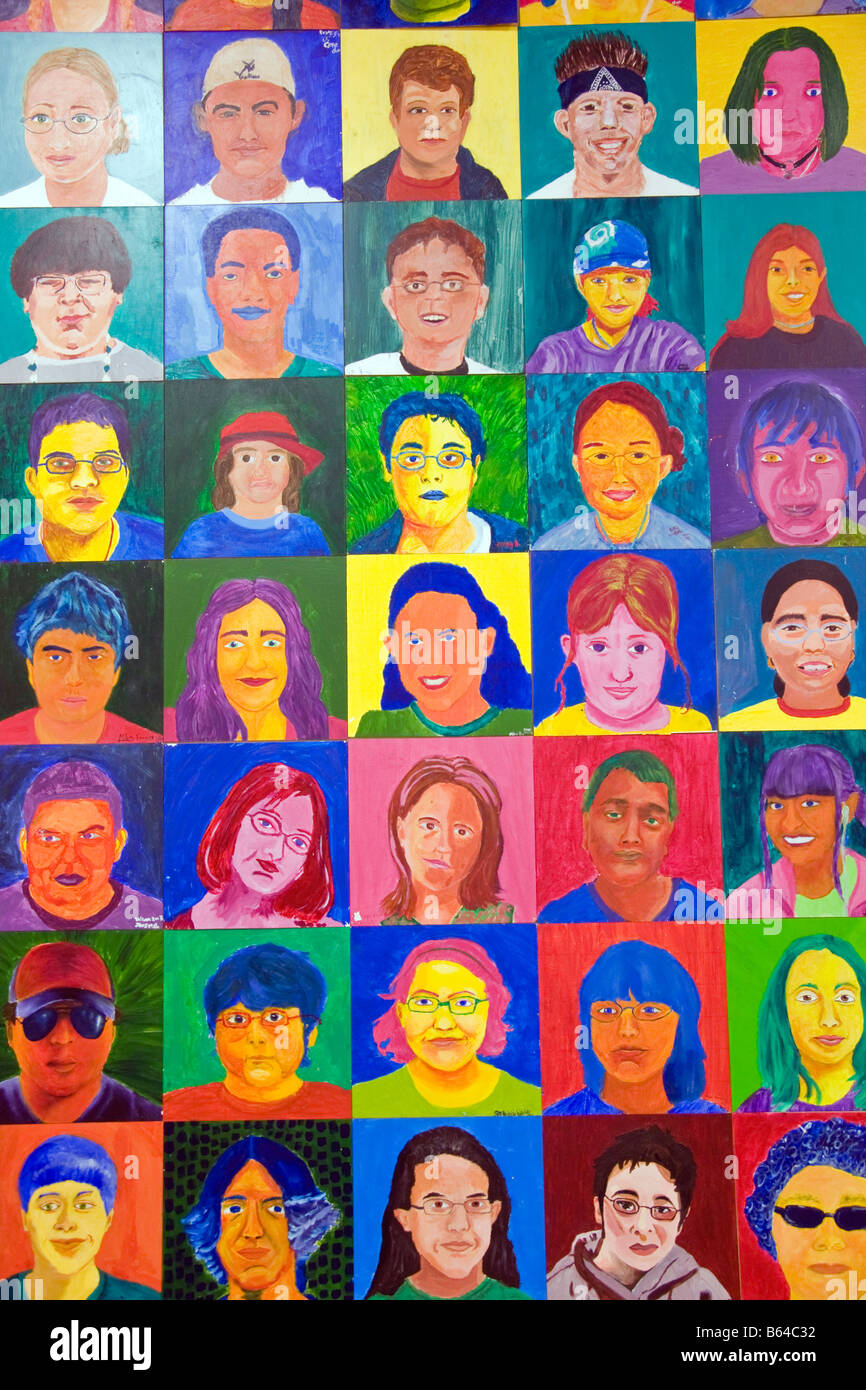 San Antonio's Say Si Art Studio, Youth Arts Program, student self portraits - Stock Image