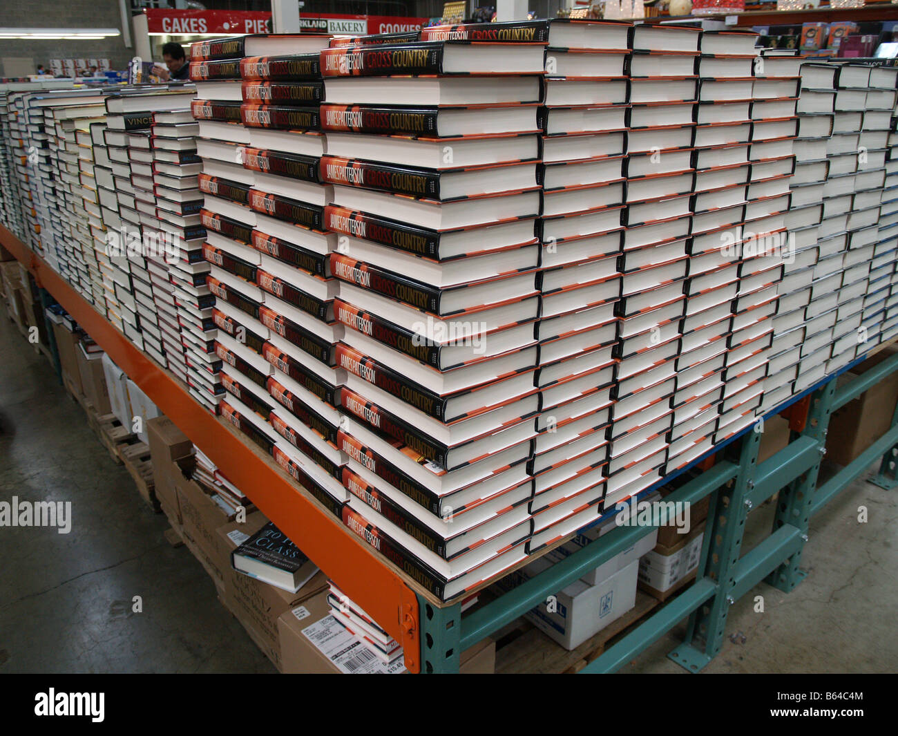 Stacks of books for sale in a Costco Wholesale big box store in the United States Stock Photo