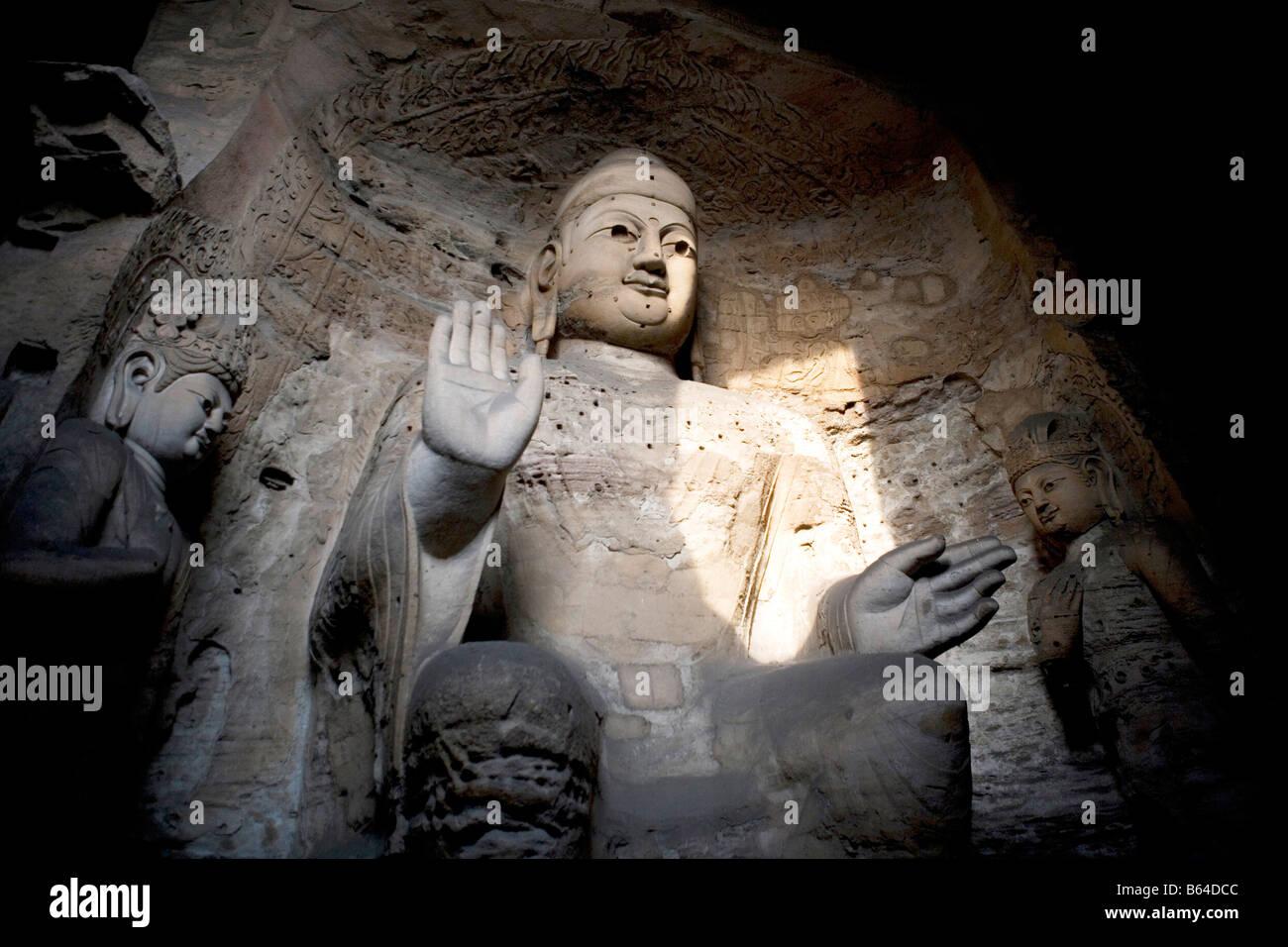 Statue of Shakyamuni, Yungang Grottoes, Shanxi Province, China - Stock Image