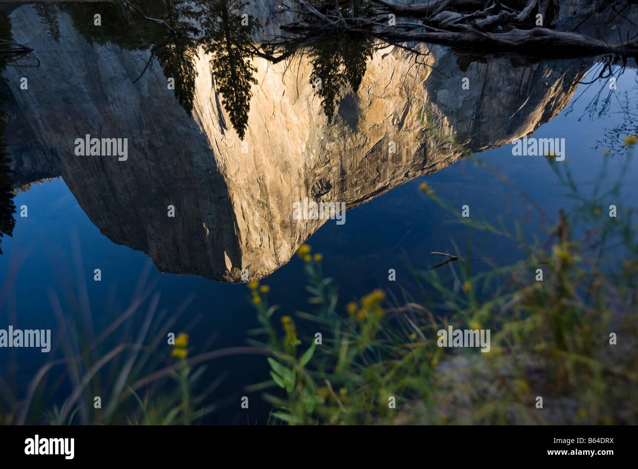 Yosemite National Park El Capitan Bridal Veil Falls sunrise rock climb climbing California, USA Stock Photo