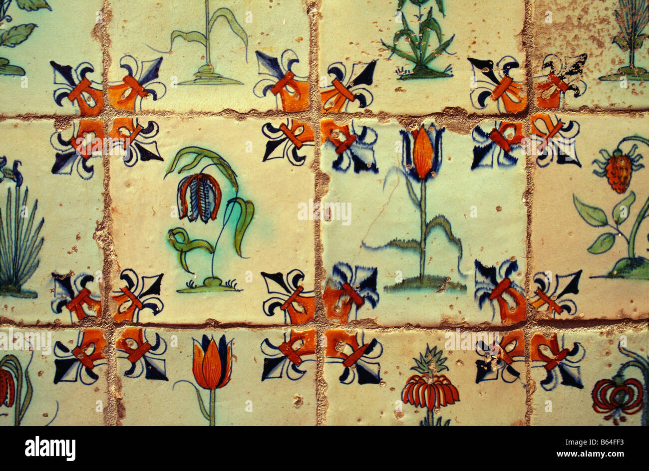 Holland, The Netherlands, Delft. Museum: Lambert van Meerten. Delftware tiles. - Stock Image