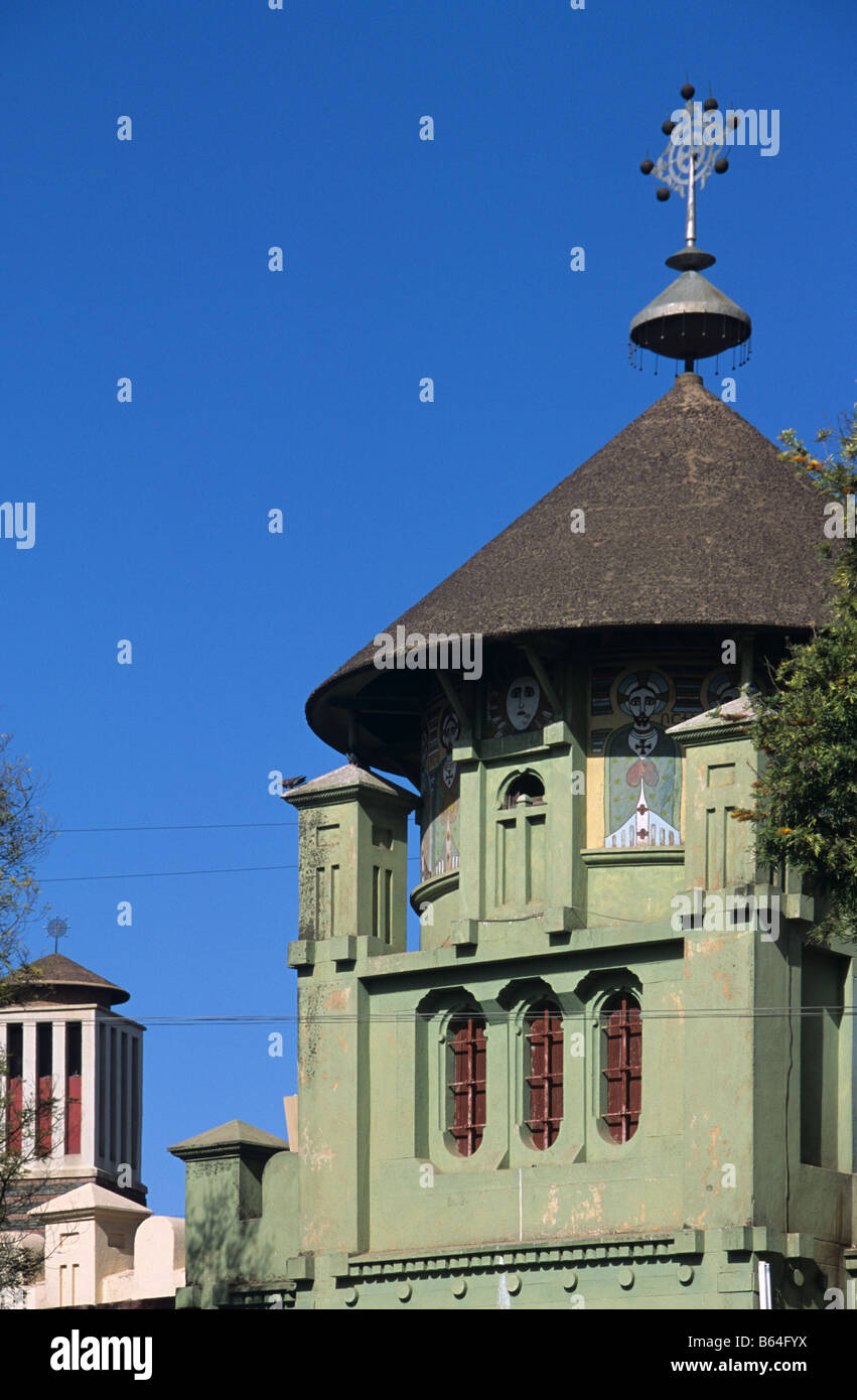 Othodox Chapel at entrance to the Orthodox Coptic Cathedral of Saint Mariam (1917), Asmara, Eritrea - Stock Image