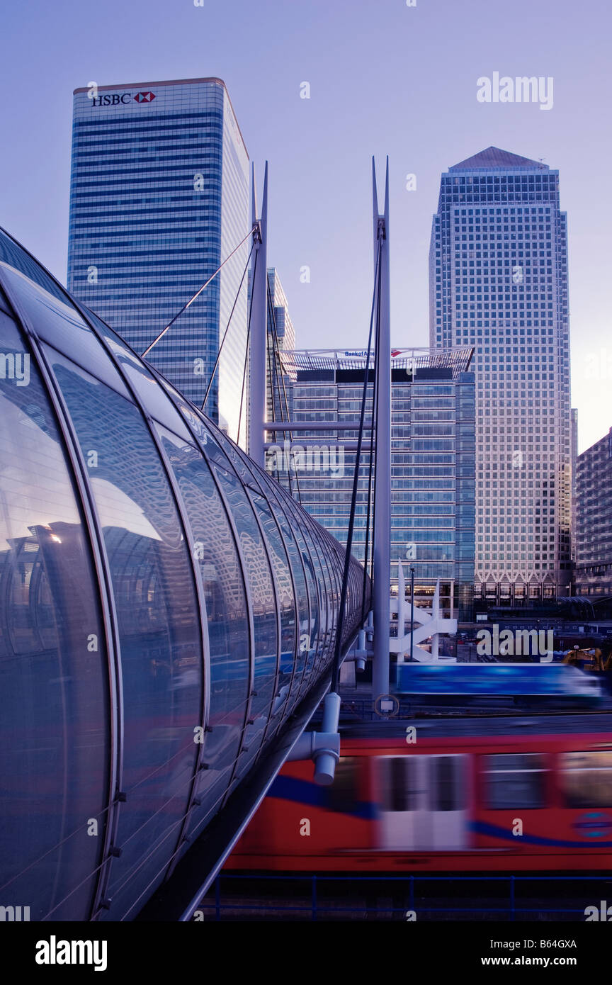 Canary Wharf London England viewed from Poplar Docklands Light Railway station - Stock Image