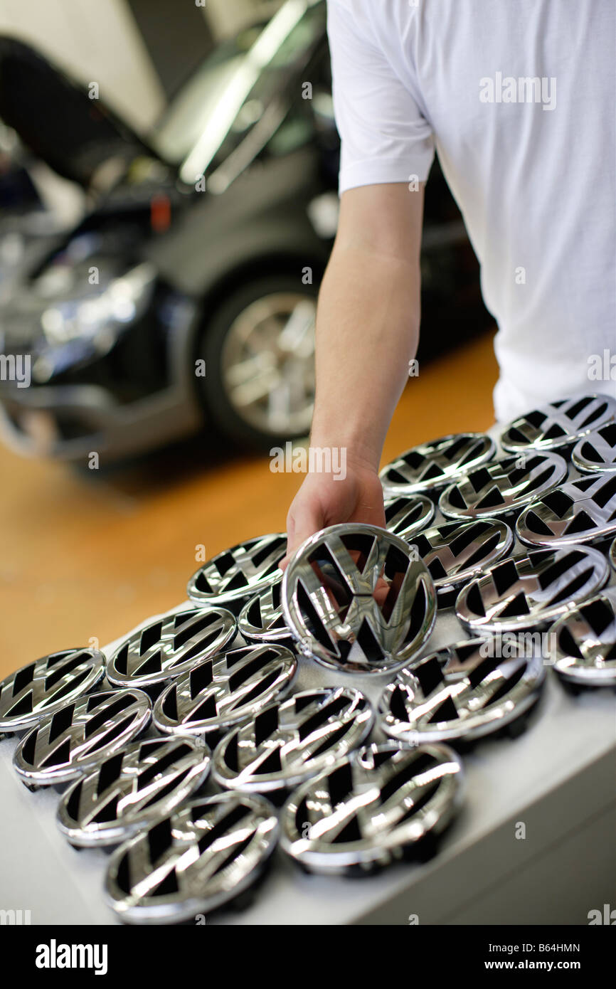 VW Zeichen VW Mark car Factory - Stock Image