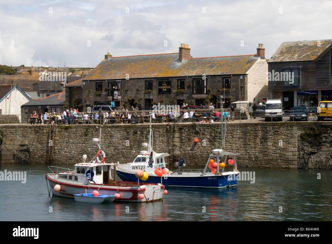 Boats in harbour of Porthleven, Cornwall, England, Great Britain, United Kingdom. - Stock Image