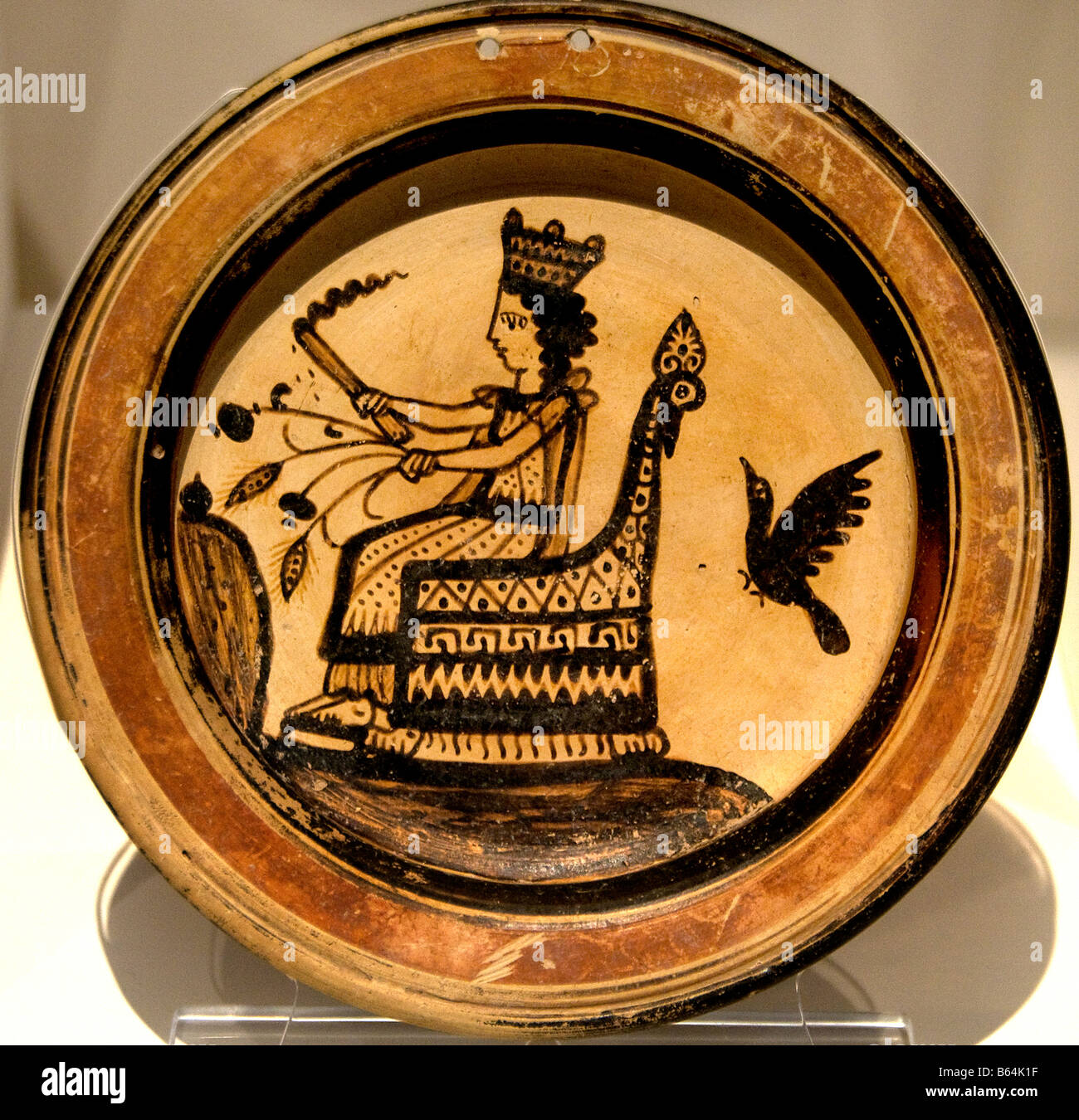 Plate Demeter mother earth  on throne Corinth Corinthian  Greek Greece - Stock Image