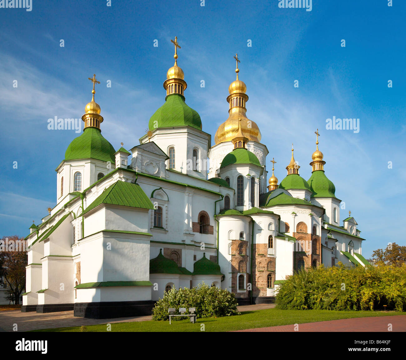 Morning Saint Sophia Cathedral church building view. Kiev City centre, Ukraine. - Stock Image