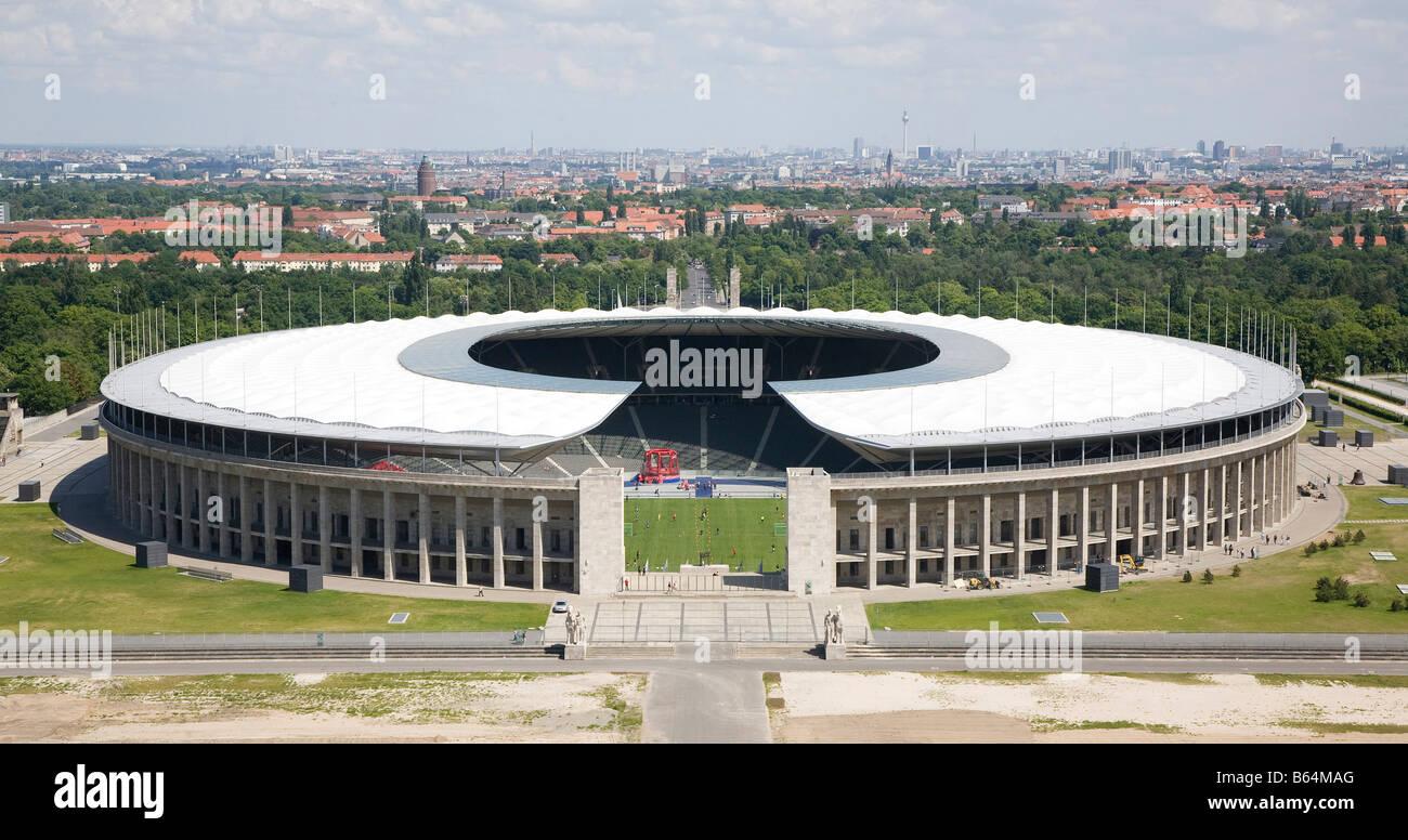 Berlin, Olympiastadion, Blick vom Glockenturm Stock Photo