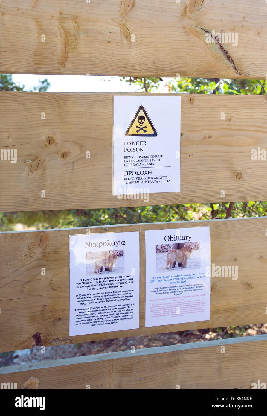 Poison Warning Notice on the Lourdata - Sissia path, Kefalonia, Greece, Europe - Stock Image
