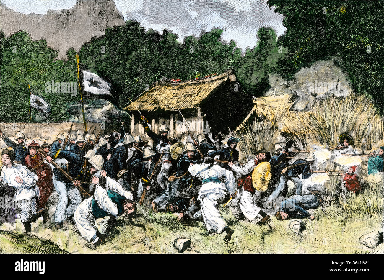 French forces capture Langson in Indochina Vietnam 1885. Hand-colored woodcut - Stock Image