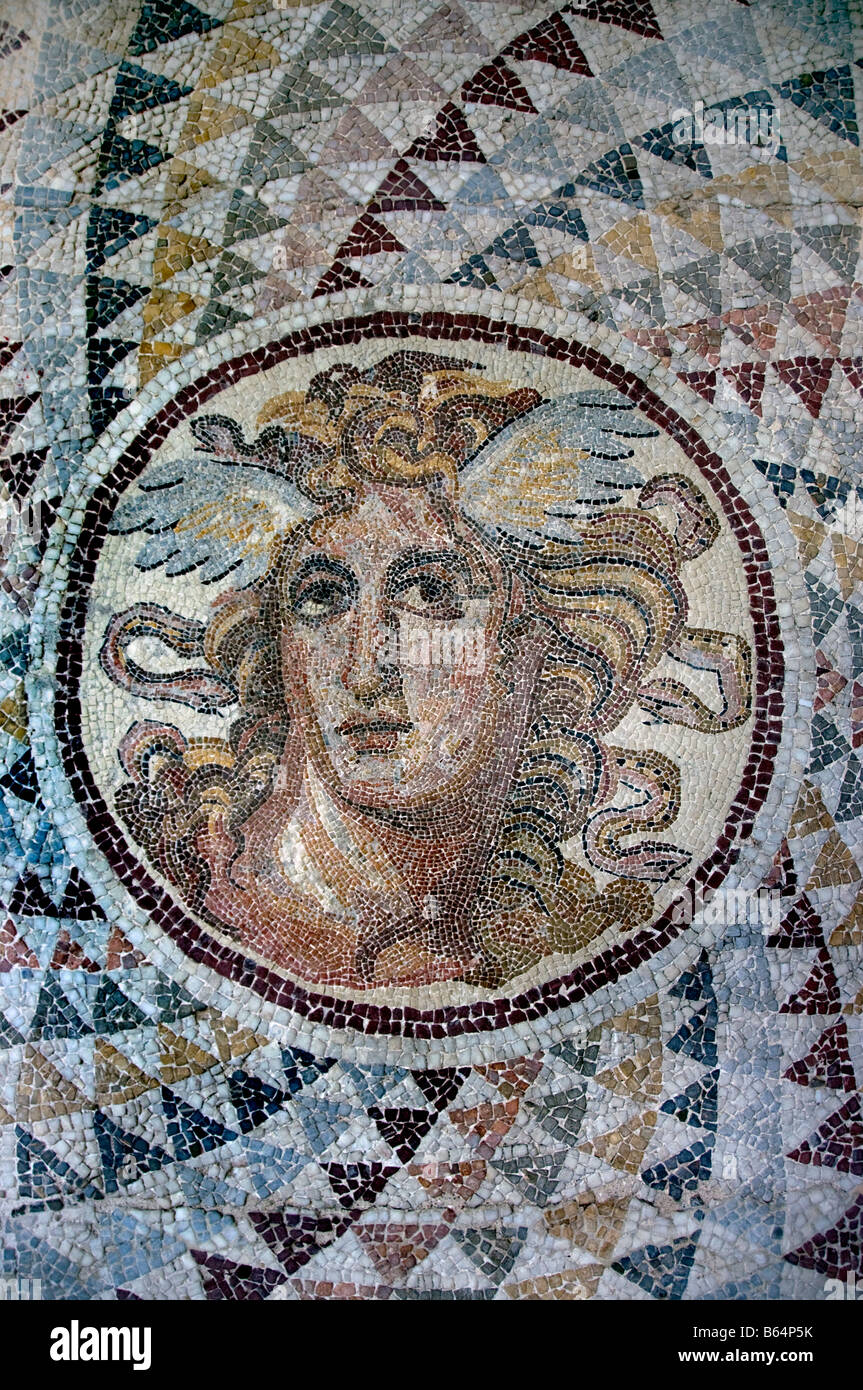 Angelic woman floor mosaic Greek Greece - Stock Image