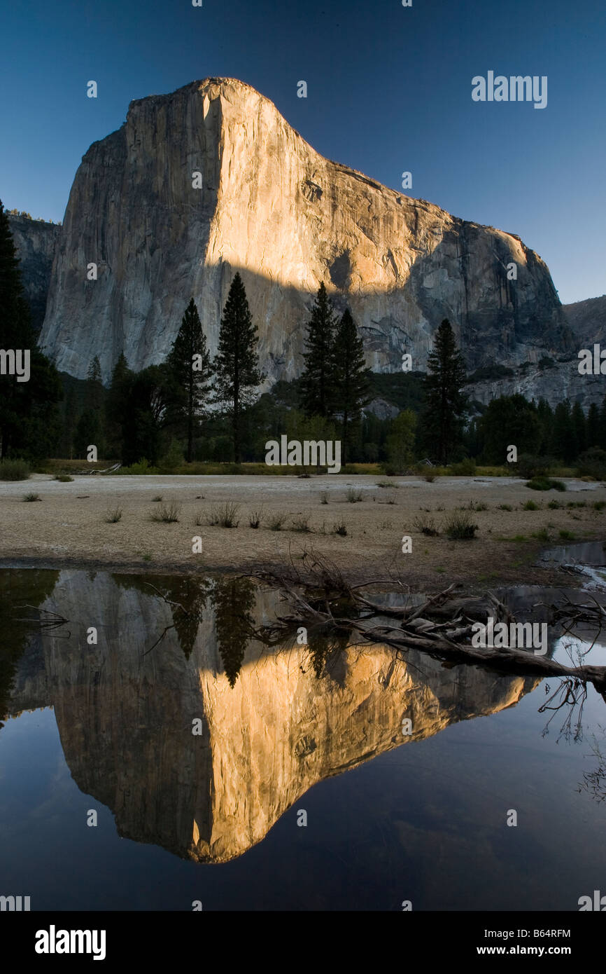 Yosemite National Park El Capitan Bridal Veil Falls sunrise rock climb climbing California, USA Stock Photo