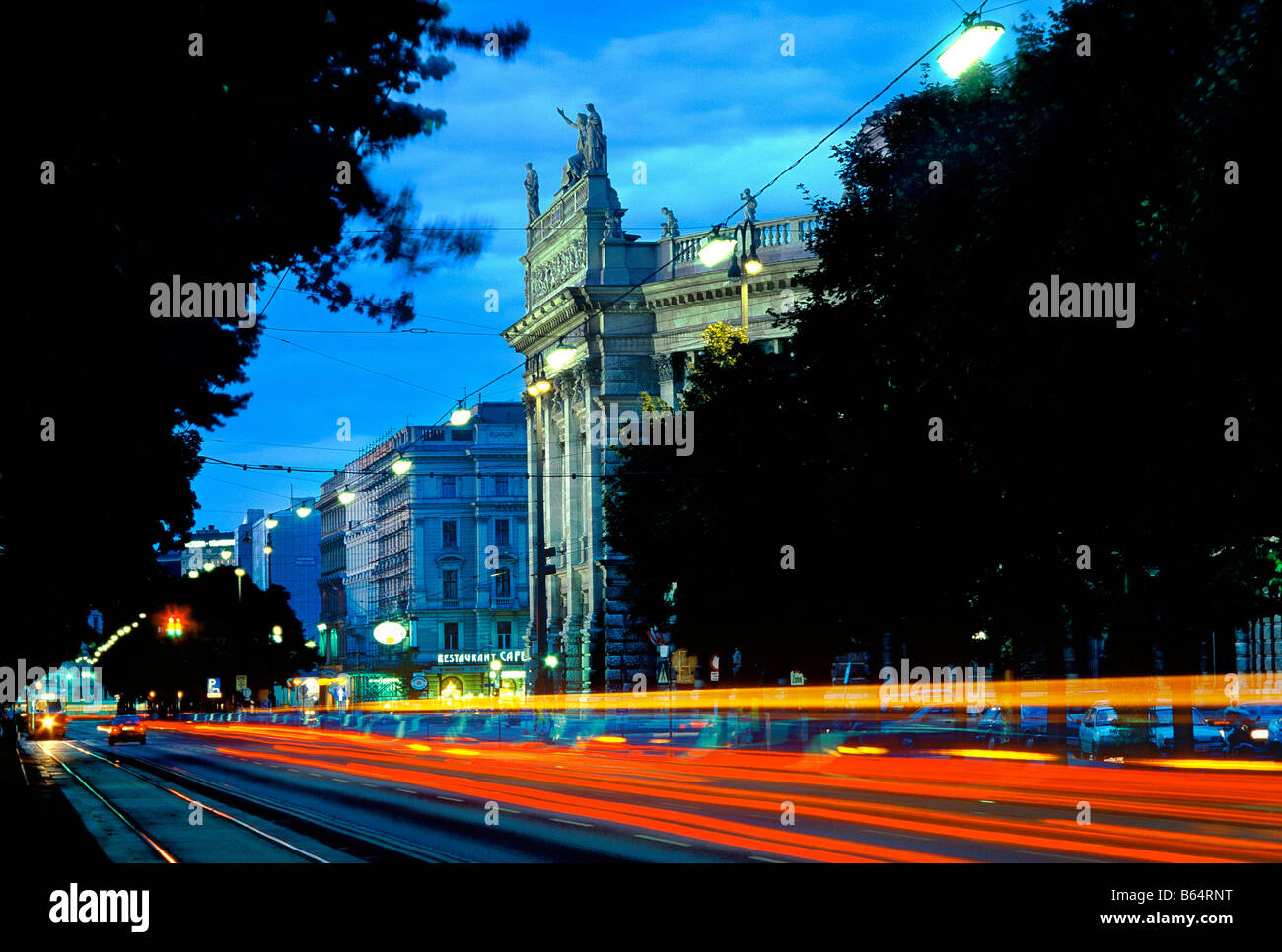 Burg theater at night in Vienna Austria - Stock Image