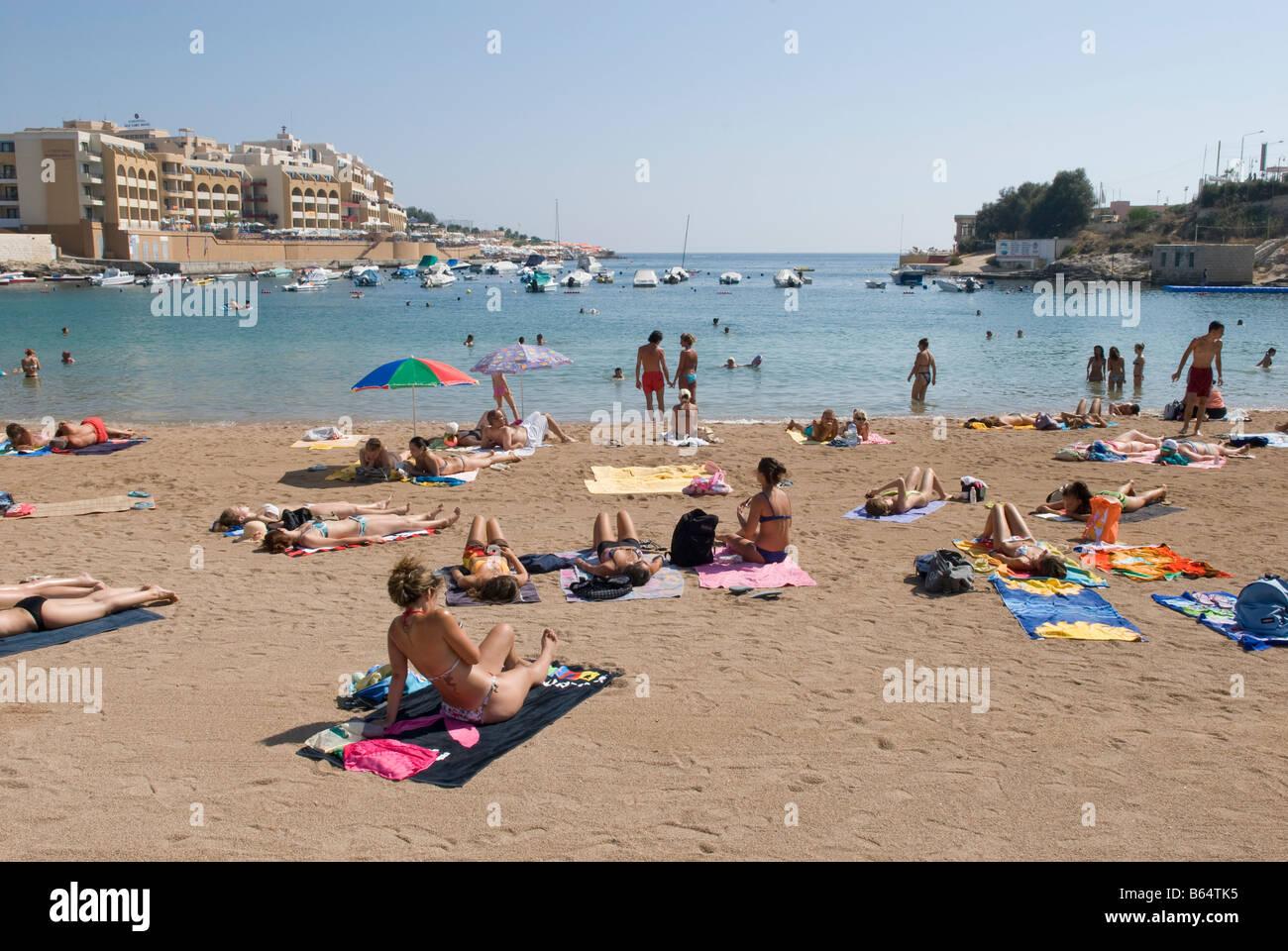 Beach at St  George's Bay, St  Julian's Paceville Malta