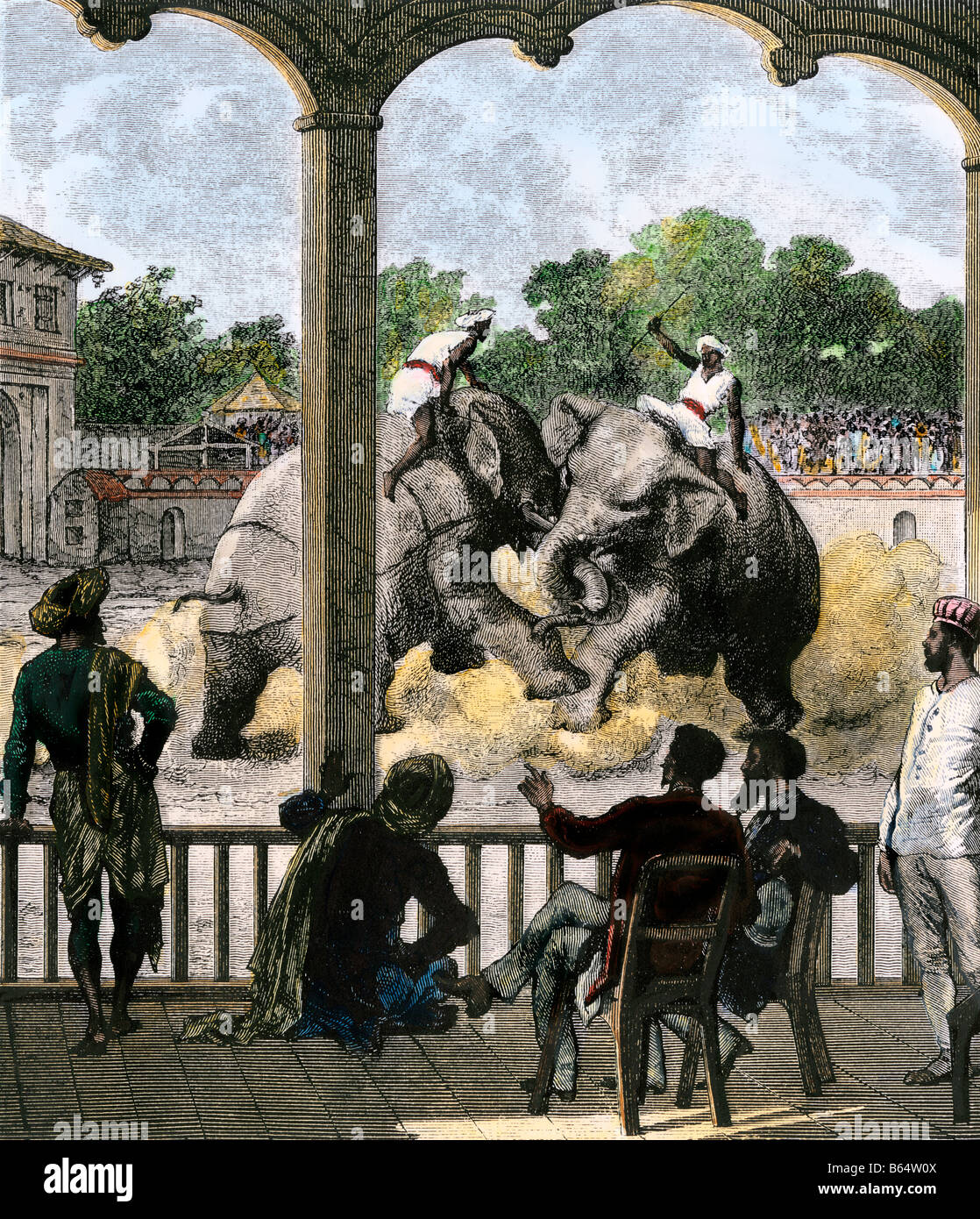British officials watching a duel of elephants in Baroda India 1870s. Hand-colored woodcut - Stock Image