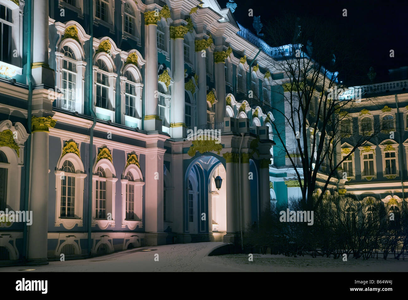 Winter Palace facade in winter night on black sky background, St. Petersburg - Stock Image