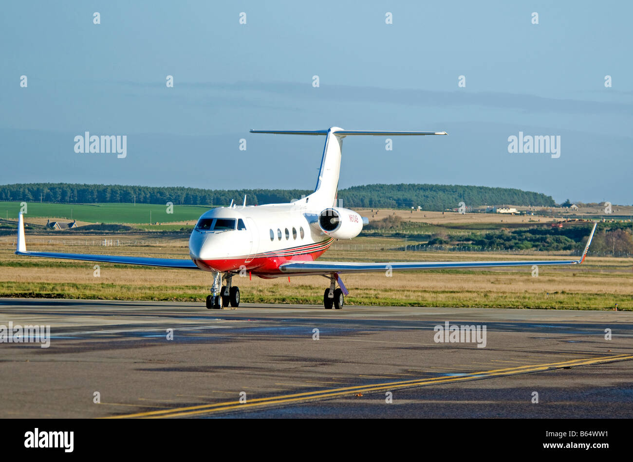 Gulfstream Aerospace G-1159A Gulfstream III 21Seater passenger jet Aircraft at Inverness Airport Scotland  SCO2081 - Stock Image