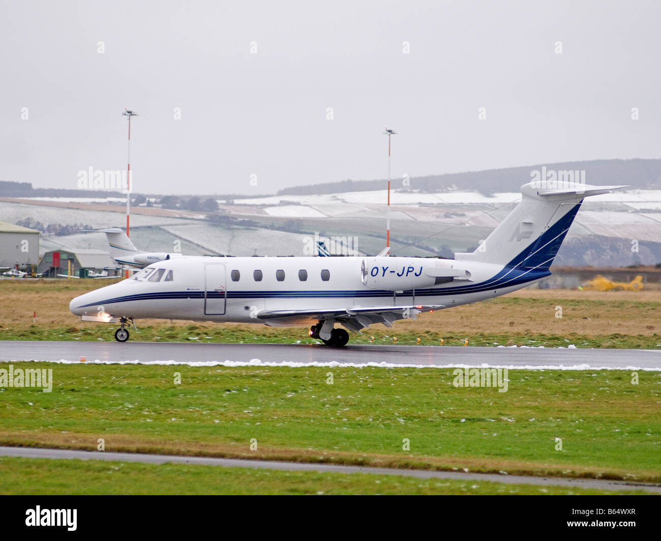 Cessna 650 Citation III arriving at Dalcross Airport Inverness in the Scottish Highlands  SCO 2008 - Stock Image