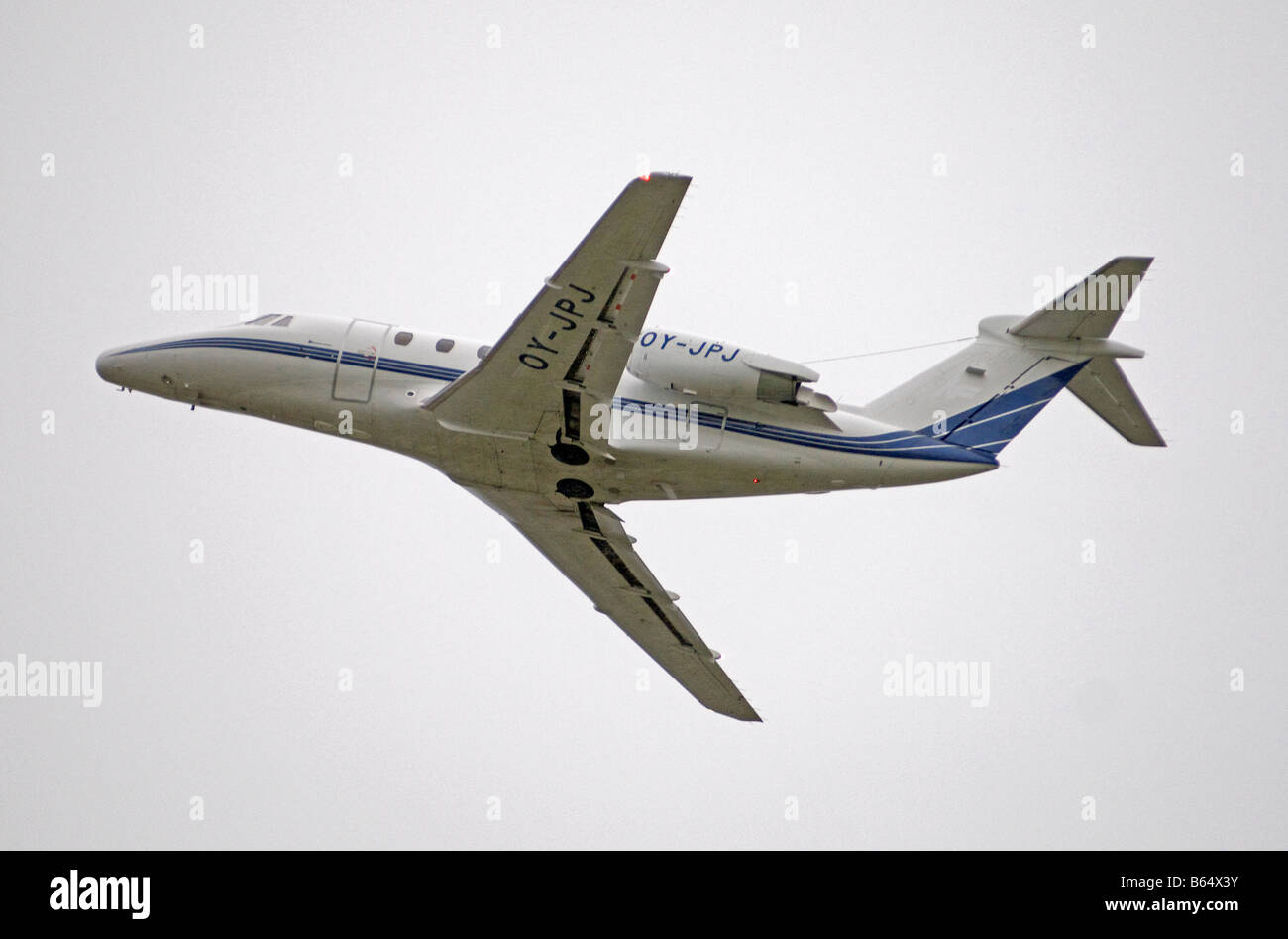 Cessna 650 Citation III leaving Dalcross Airport Inverness in the Scottish Highlands  SCO 2008 - Stock Image