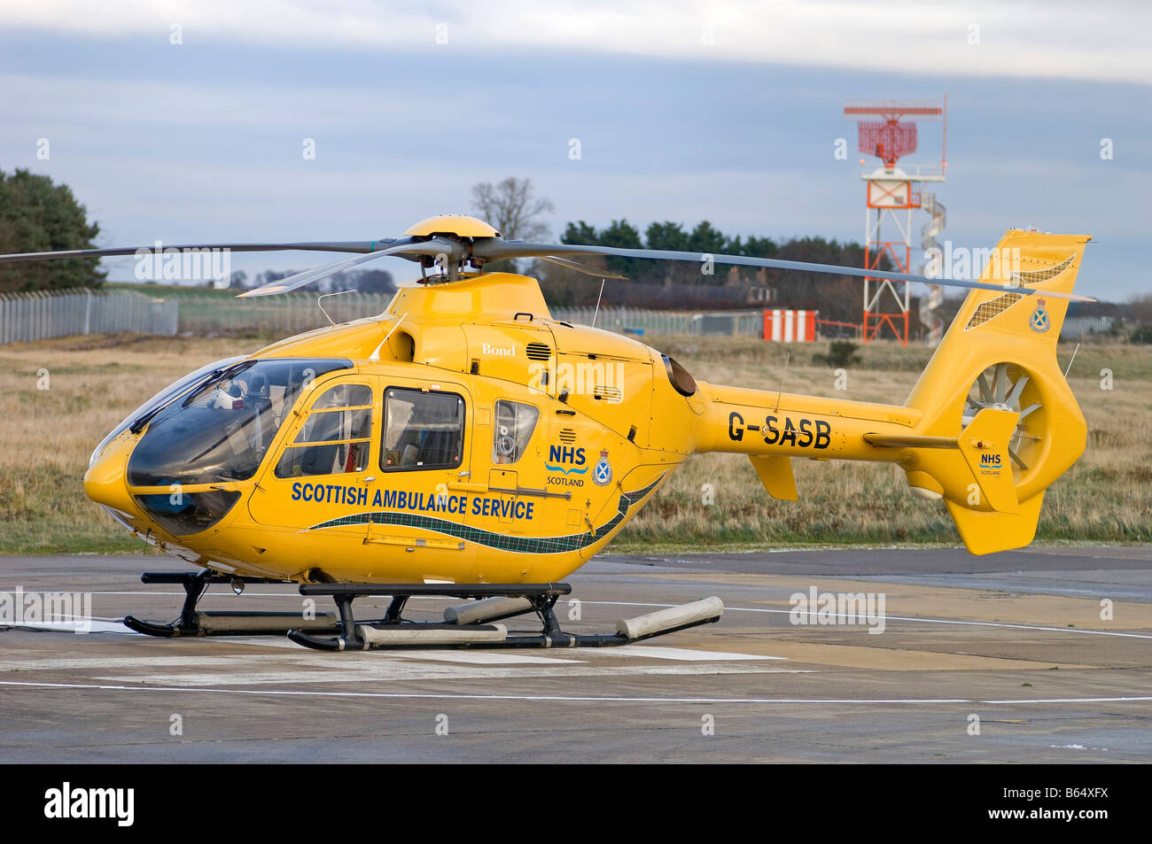 Eurocopter EC 135T2 Emergency Air Ambulance based at Inverness Dalcross Airport Scottish Highland Region UK  SCO - Stock Image