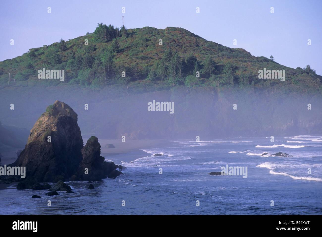 Morning light over Trinidad Head Trinidad State Beach Humboldt County California - Stock Image