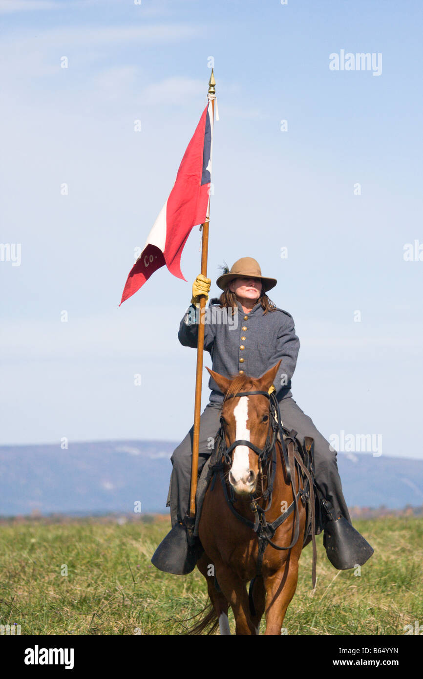 Civil War Battle Renactor at the renactment of the Battle of Berryville. - Stock Image