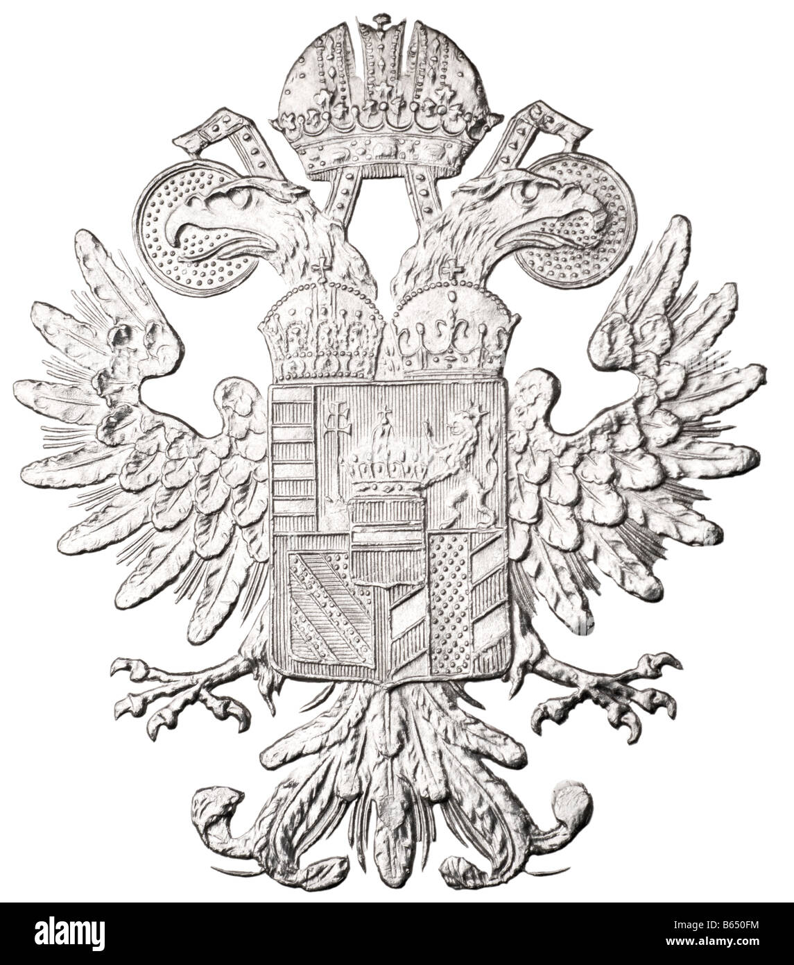 Double-headed Eagle of Austro Hungary, from the reverse of a Maria Theresa silver Thaler - Stock Image